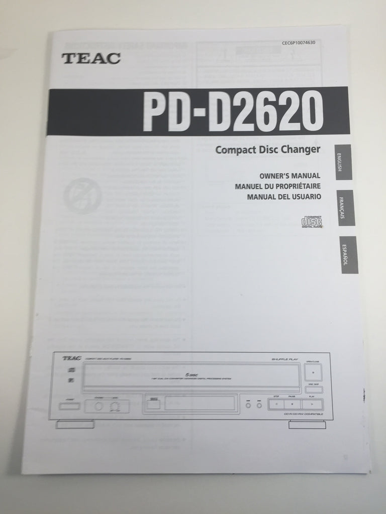 Teac PD-D2620 Compact Disc Changer Owner's Manual
