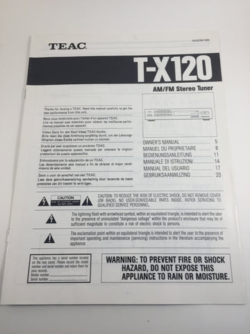 Teac T-X120 AM/FM Stereo Tuner Owner's Manual