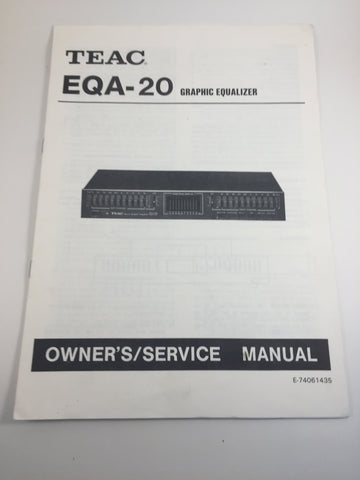 Teac EQA-20 Graphic Equalizer Owner's/Service Manual