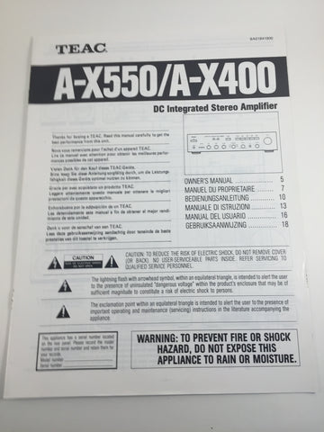 Teac A-X550/A-X400 DC Integrated Stereo Amplifier Owner's Manual