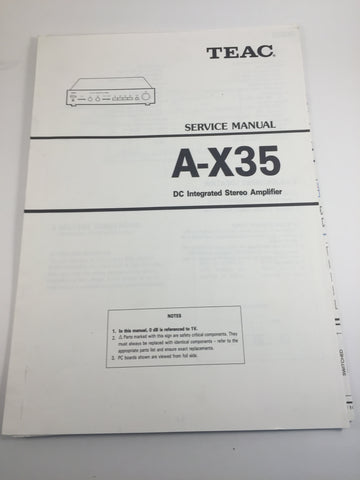 TEAC A-X35 DC Itegrated Stereo Amplifier Service Manual