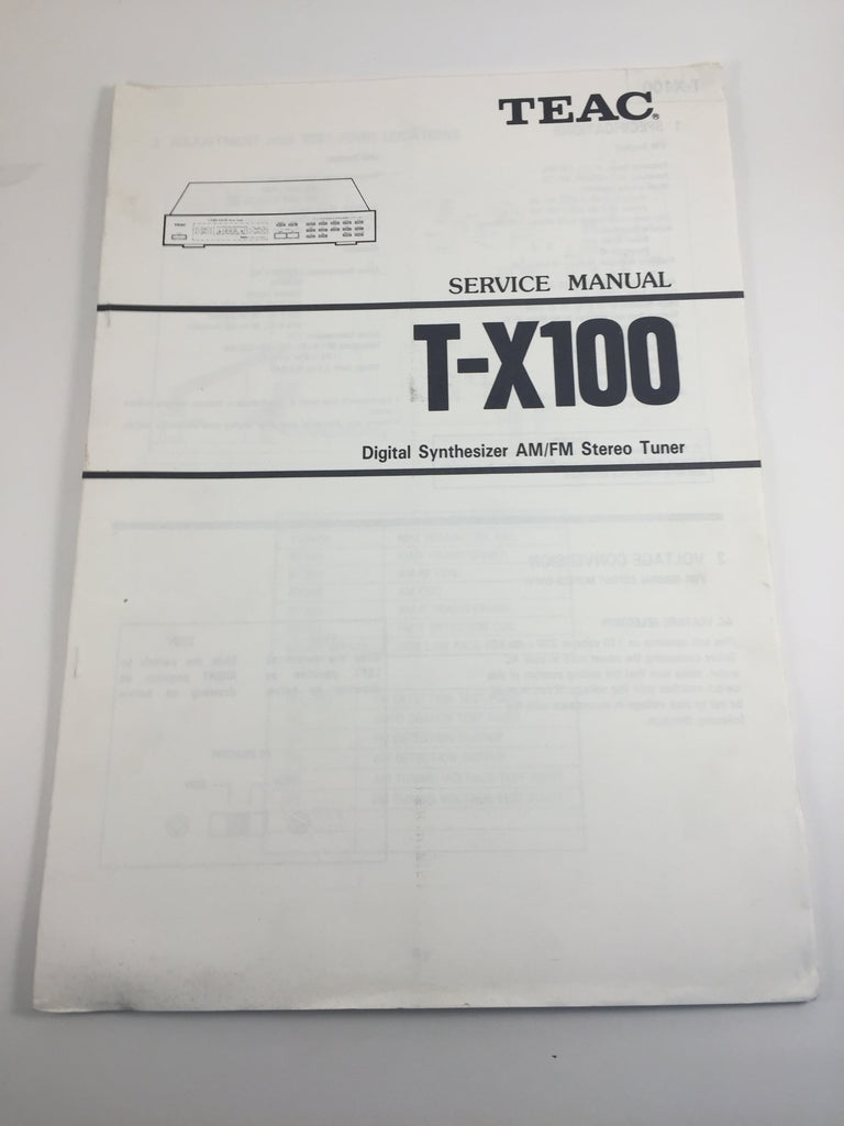 TEAC T-X100 Digital Synthesizer AM/FM Stereo Tuner Service Manual