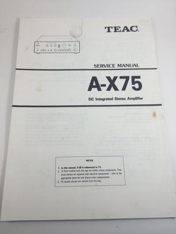 TEAC A-X75 DC Integrated Stereo Amplifier Service Manual