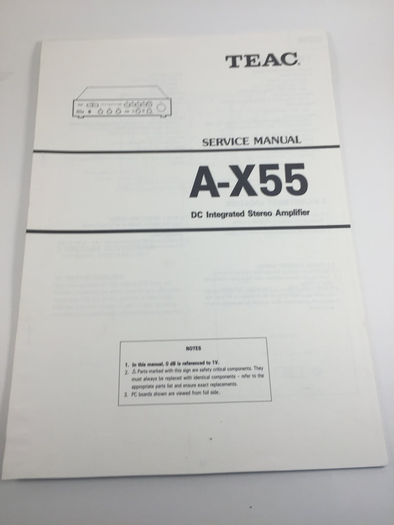 TEAC A-X55 DC Integrated Stereo Amplifier Service Manual