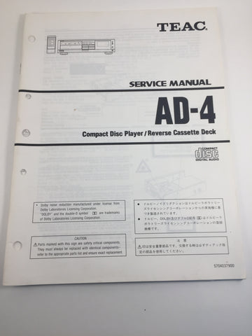 TEAC AD-4 Compact Disc Player/Reverse Cassette Deck Service Manual