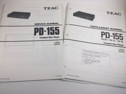 TEAC PD-155 PD-80/PD-75/PD-70 Compact Disc Player Service-Supplement Manual