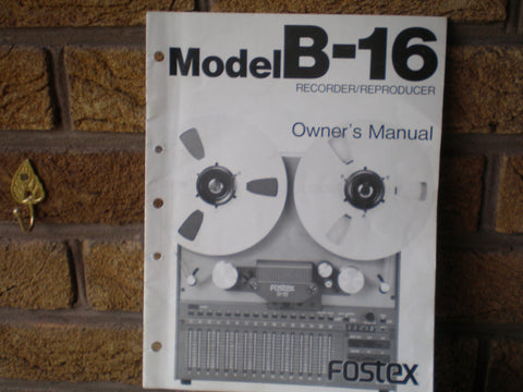Fostex B16 Owners Manual