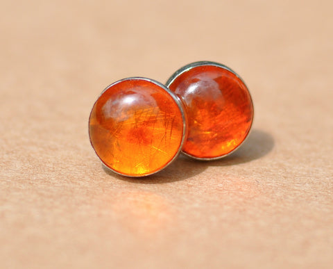 Amber Earrings, handmade with Sterling Silver Earring Studs, 8 mm Gemstones and silver earrings