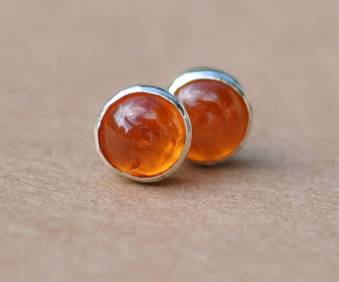 Garnet Earrings handmade with Sterling Silver Studs. 6mm Spessartite Garnet and 925 silver in Mandarin orange. silver jewelry, gift, parties