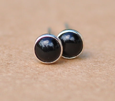 Black Onyx earrings, Sterling Silver studs, 4 mm cabochon gemstone gift jewellery for men and women