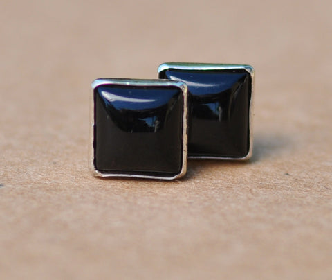 Black Onyx earrings, Sterling Silver studs. 6 mm Square black gemstone gift jewellery