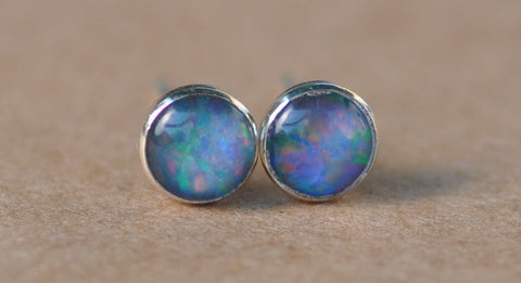 Blue Opal Earrings handmade with Sterling Silver studs. 5 mm , rainbow, gifts