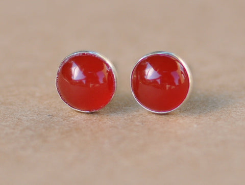 Carnelian Earrings with Silver Studs, 6mm Carnelian Gemstones with Sterling Silver setting