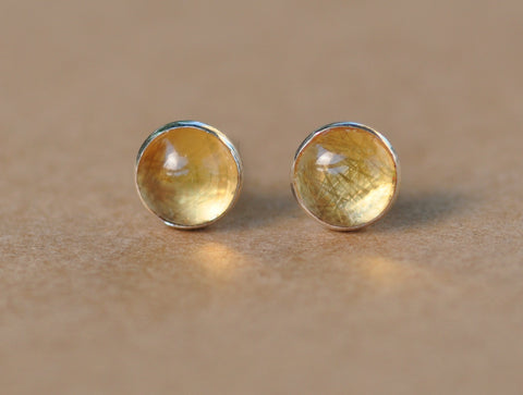 Citrine Earrings with Sterling Silver Studs. 6mm Citrine gemstones with silver settings