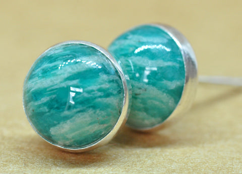 Amazonite Sterling silver Earrings,handmade green Sterling Silver studs, 8 mm natural Amazonite