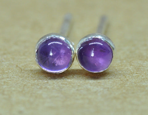 Amethyst earrings. Amethyst Studs handmade with Sterling Silver. 3 mm diameter