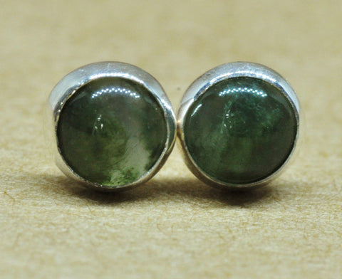 Green Moss Agate Earrings with Sterling Silver Earring studs, 5 mm Green unisex gemstones