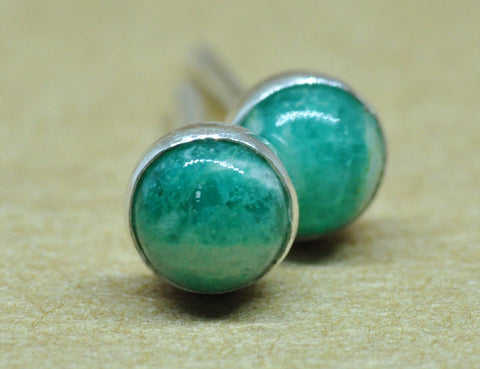 Amazonite Earrings. Amazonite studs, handmade with quality Sterling Silver, 4 mm natural gemstone