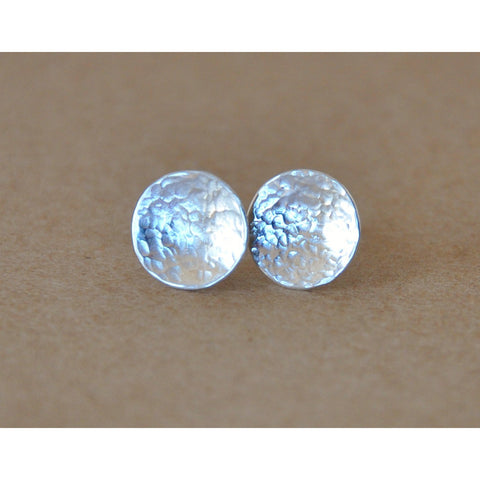 Silver Earrings, Hammered Disc studs handmade with Sterling Silver