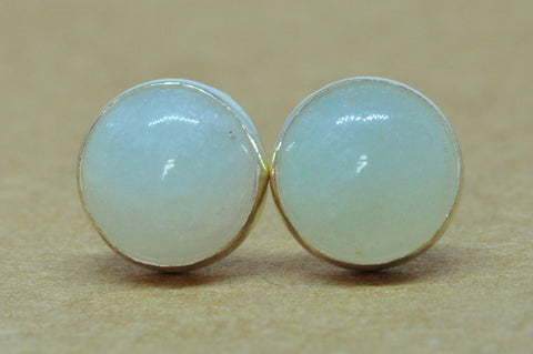 Amazonite Earrings handmade, Sterling Silver studs, 8 mm natural pale gemstone