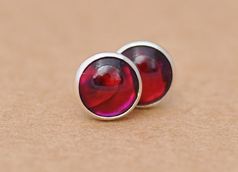Paua shell earrings, Red sterling silver studs. 6 mm unisex Abalone jewellery gift