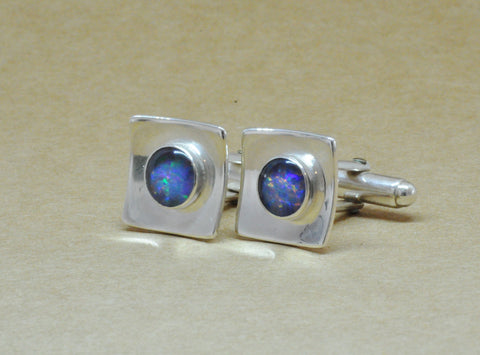 Blue Opal Sterling Silver Cuff links for the stylish gentleman.