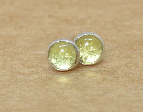 Peridot Earrings. Peridot studs handmade with Sterling Silver . 4 mm