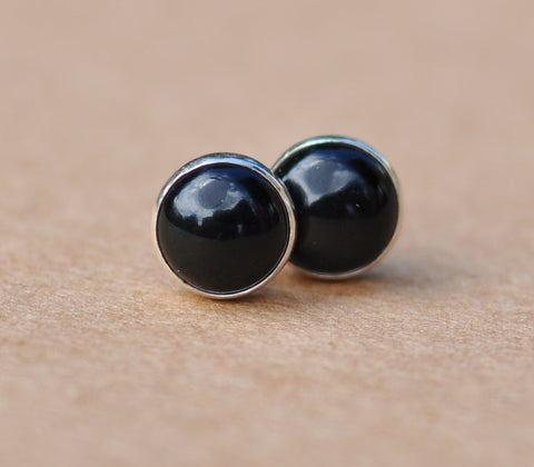 Black Onyx earrings, Sterling Silver studs. 6 mm black gemstone gift jewellery for men and women