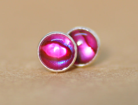 Pink Paua Shell Earrings
