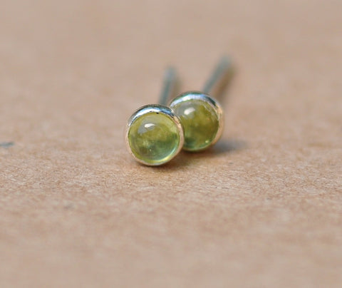 Peridot Earrings. Peridot studs handmade with Sterling Silver. 3 mm Cabochon Gemstone