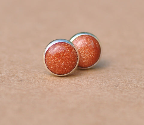 Goldstone Earrings with Sterling Silver Earring Studs in Sparkly Brown