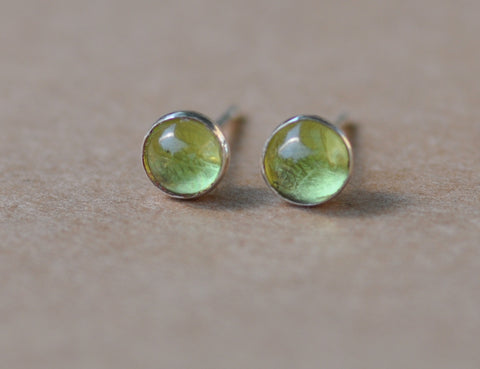 Peridot Earrings handmade with Sterling Silver Studs. 3 mm gemstones