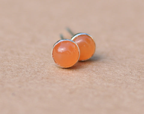 Pink Moonstone Earrings handmade with Sterling Silver Settings. 4mm Cabochon Gemstone and silver studs, gifts, birthdays, peach, jewelry