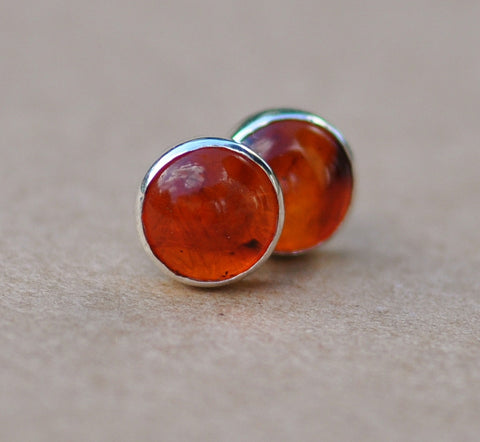 Amber Earrings, handmade with Sterling Silver Earring Studs, 5 mm Gemstone Amber studs earrings
