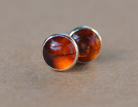 Amber Earrings handmade with Sterling Silver Earring Studs, 6 mm Gemstone and silver studs, amber jewelry,