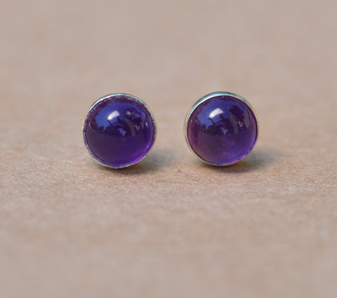 Amethyst earring studs with Sterling Silver bezel setting