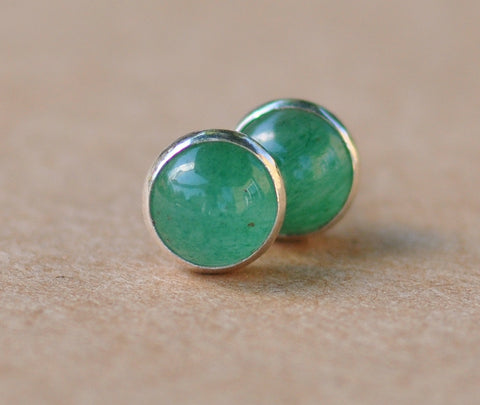 Aventurine Earrings handmade with Sterling Silver Studs, 6 mm Green Gemstones, silver jewelry,
