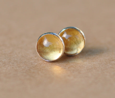 Citrine Earrings handmade with Sterling Silver Studs. 5mm Citrine gemstones and silver earrings. 925 silver jewelry, gift