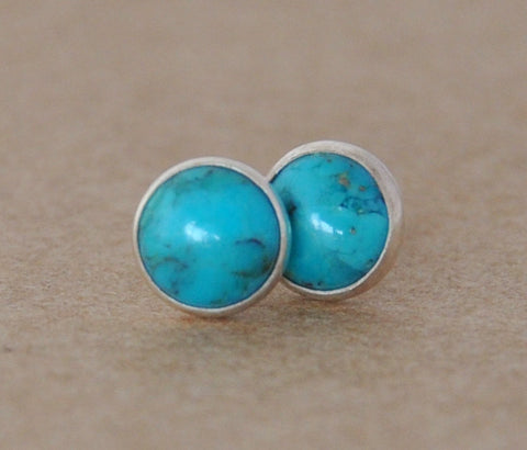 Turquoise Stud Earrings handmade with Sterling Silver Earring settings, 6mm gemstones and Silver studs, birthstone, december, birthday, 925