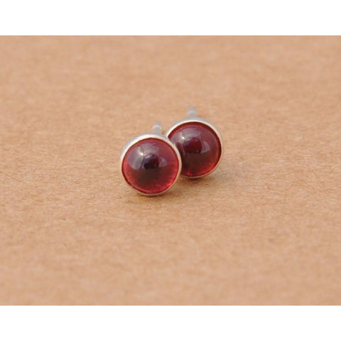 Rhodolite Garnet Earrings with Sterling Silver Studs. 4mm Cabochon Rhodolite Garnet gemstones with silver tube settings