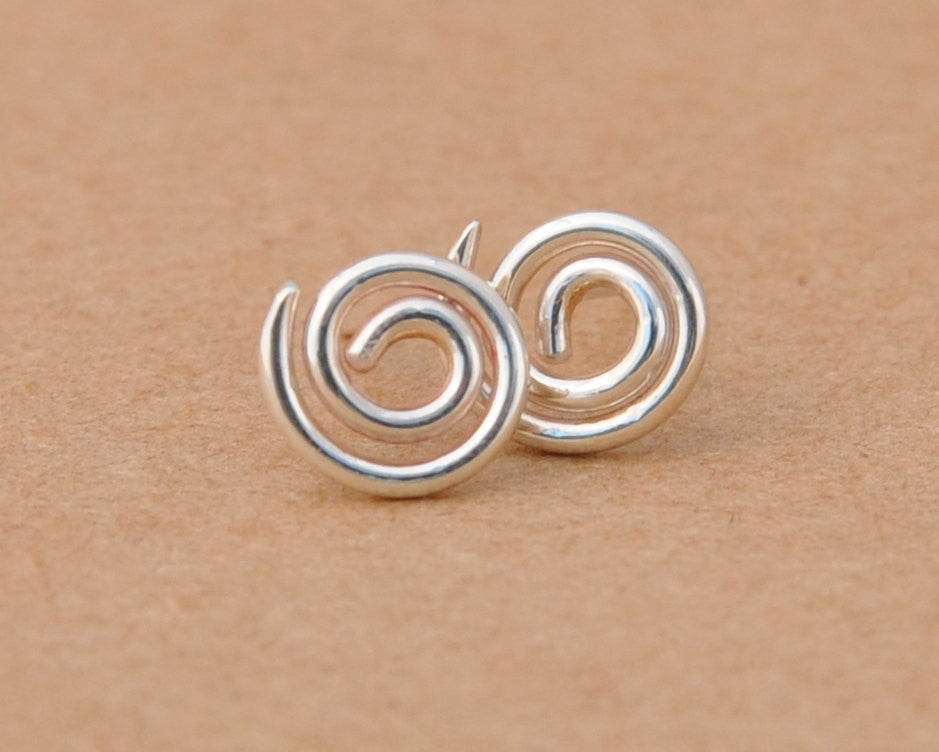 Silver Swirl Earrings handmade with Sterling Silver Studs. 925 Wire ...