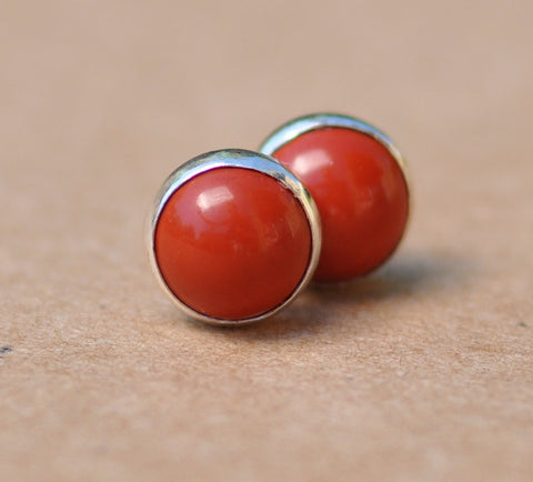 Jasper earrings with Sterling Silver studs in Orangy Red, 8mm Gemstone