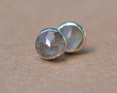 Labradorite stud earrings handmade with sterling silver settings. 5mm Rose cut gemstone and silver studs, blue gold and green flashes, gift
