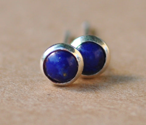 Lapis Lazuli earrings, Sterling Silver handmade earrings 4mm gemstone cabochons for birthday and gifts silver jewelry