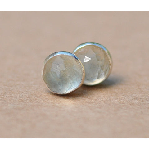 Prasiolite Earrings with Sterling Silver Earring studs, 6mm Prasiolite rose cut cabochon gemstones