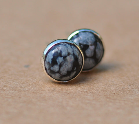 Snowflake Obsidian Earrings with Sterling Silver Earring studs, 6mm gemstones white and black. dots, spots, birthdays, gifts, stud earrings