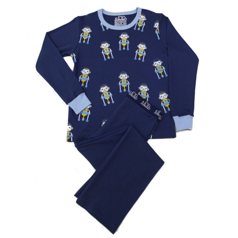Organic Peruvian Pima Cotton Boys Pajamas: Lot of Robots Design - Lilala KIDS
