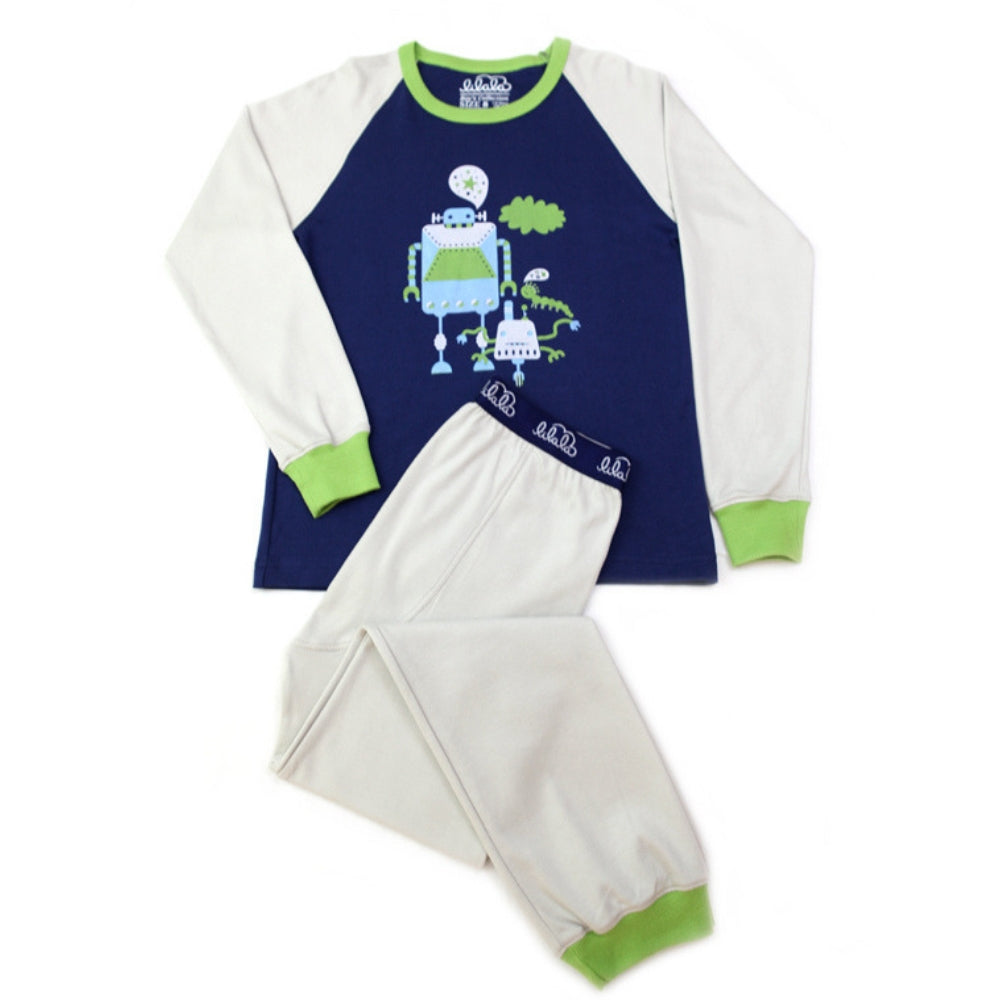 Organic Peruvian Pima Cotton Boys Pajamas: Robot Gang Design - Lilala KIDS