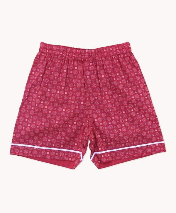 boys pyjama shorts red and white