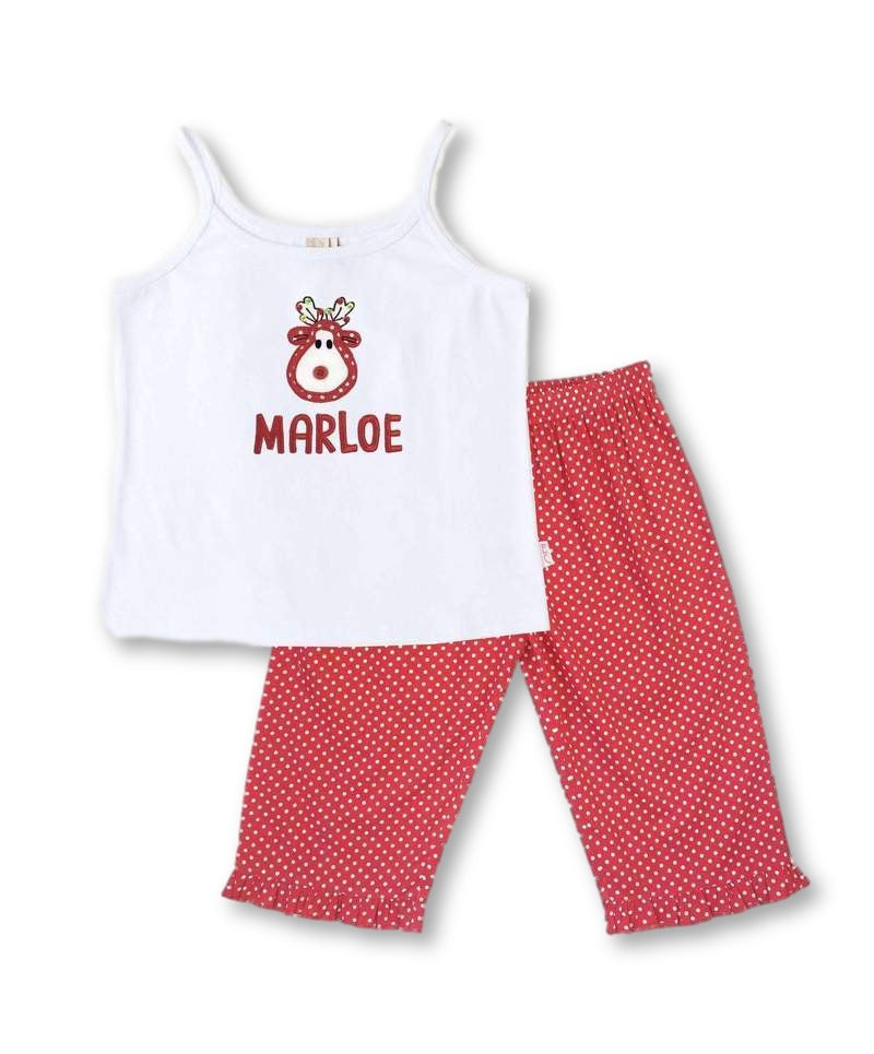 Personalised Girls Christmas Pyjama Set: Reindeer Design